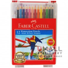 FABER-CASTELL 12 Watercolour Pencils (with brush, 2B pencil & sharpener)