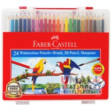 FABER-CASTELL 24 Watercolour Pencils (with brush, 2B pencil & sharpener)