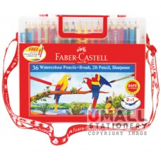 FABER-CASTELL 36 Watercolour Pencils (with brush, 2B pencil & sharpener)