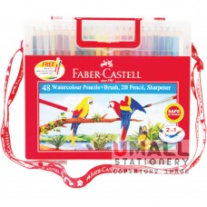 FABER-CASTELL 48 Watercolour Pencils (with brush, 2B pencil & sharpener)