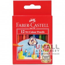 FABER-CASTELL TRI COLOUR PENCIL - 12 Colours, short