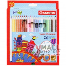 STABILO Swans Premium Edition 3.8mm - 24 Colors Malaysia Penang Online Stationery Store