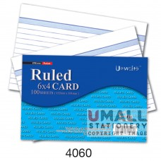 4060 - RULED CARD 4 x 6, Packing: 100's x 10